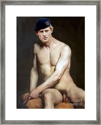 Prince Harry  Seated Nude Framed Print by Karine Percheron-Daniels