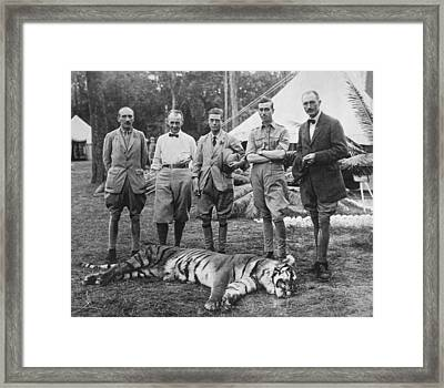 Prince Of Wales Kills Tiger Framed Print by Underwood Archives