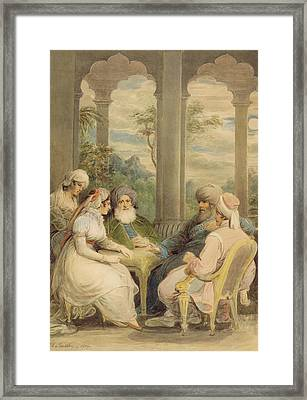 Prince Rasselas And His Sister Conversing In Their Summer Palace On The Banks Of The Nile, 1804 Wc Framed Print by Samuel Shelley