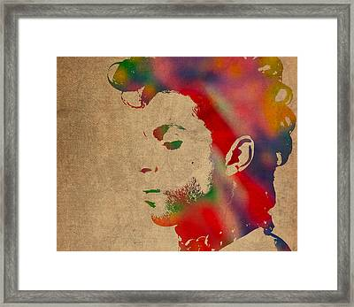 Prince Watercolor Portrait On Worn Distressed Canvas Framed Print by Design Turnpike
