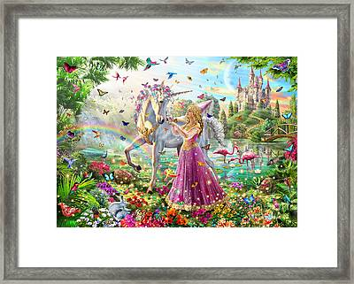 Princess And The Unicorn Framed Print by Adrian Chesterman