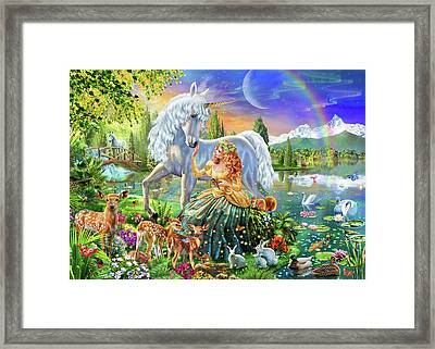 Princess And Unicorn Framed Print by Adrian Chesterman