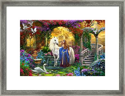 Princess And Unicorn In The Cloisters Framed Print by Jan Patrik Krasny