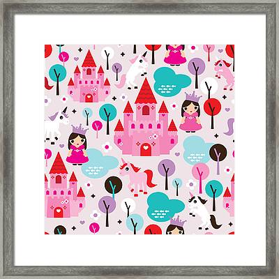 Princess And Unicorns Illustration For Kids Framed Print
