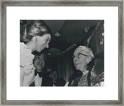 Princess Anne Meets Agatha Christie At Premiere Of Film Framed Print by Retro Images Archive