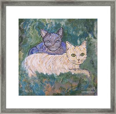 Princess Cat And Her Shadow Framed Print by Ella Kaye Dickey