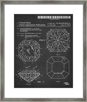 Princess Cut Diamond Patent Barcode Gray Framed Print