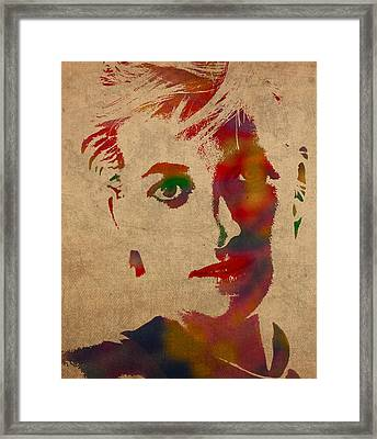 Princess Diana Watercolor Portrait On Worn Distressed Canvas Framed Print by Design Turnpike