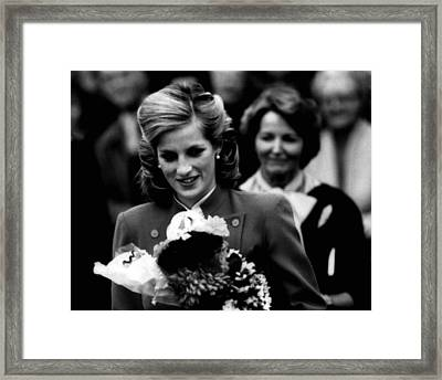 Princess Diana With Flowers Framed Print by Retro Images Archive
