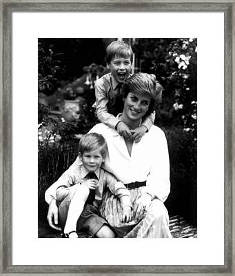 Princess Diana With Her Sons  Framed Print by Retro Images Archive