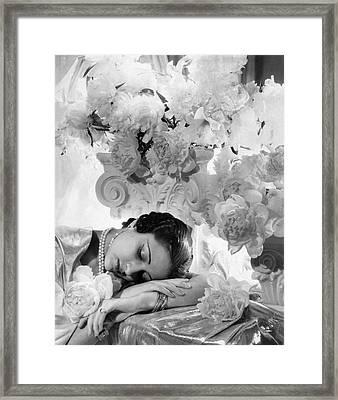 Princess Karam Of Kapurthala With Flowers Framed Print by Cecil Beaton