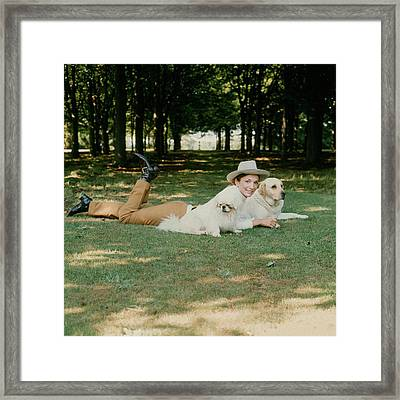 Princess Lee Radziwill With Dogs Framed Print