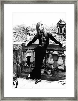 Princess Marina Wolkonsky On A Balcony In Rome Framed Print