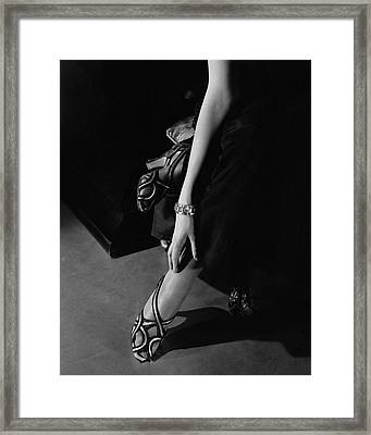Princess Nathalie Paley Wearing Shoecraft Sandals Framed Print