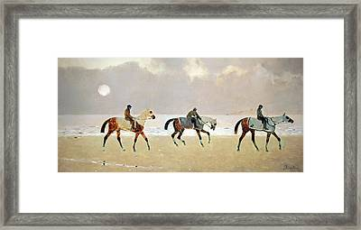 Princeteau's Riders On The Beach At Dieppe Framed Print