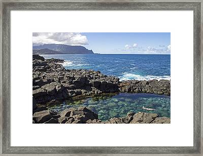 Princeville Queen's Bath Framed Print by Saya Studios