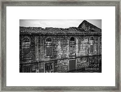Principal Theatre In Ruins Bw Framed Print
