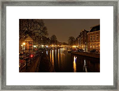 Prinsengracht Canal After Dark Framed Print