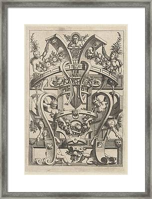Print Featuring A Fruit Garland, Print Maker Anonymous Framed Print by Anonymous And Cornelis Bos