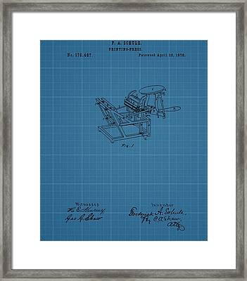 Printing Press Blueprint Patent Framed Print