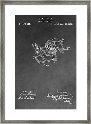 Printing Press Patent Drawing Framed Print by Dan Sproul