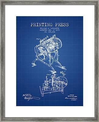 Printing Press Patent From 1878 - Blueprint Framed Print