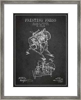 Printing Press Patent From 1878 - Dark Framed Print
