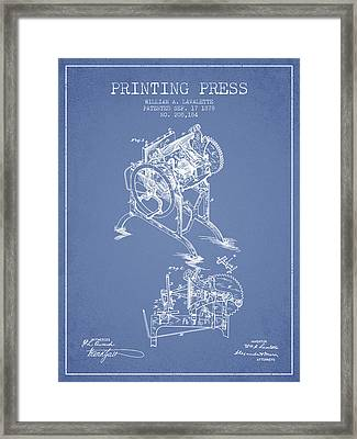 Printing Press Patent From 1878 - Light Blue Framed Print