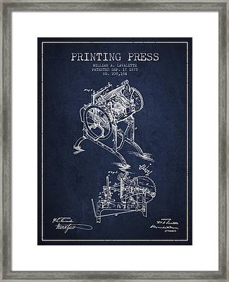 Printing Press Patent From 1878 - Navy Blue Framed Print