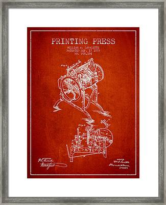 Printing Press Patent From 1878 - Red Framed Print