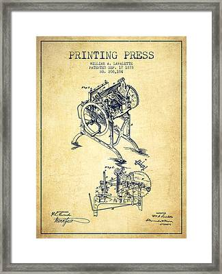 Printing Press Patent From 1878 - Vintage Framed Print