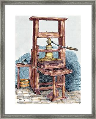 Printing Press Used By Benjamin Framed Print