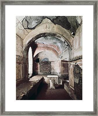 Priscilla Catacomb. Ca.  200-250 Framed Print