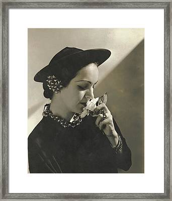 Priscilla Lawson Wearing A Lilly Dache Hat Framed Print