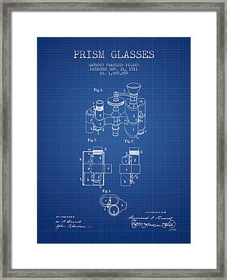 Prism Glasses Patent From 1911 - Blueprint Framed Print by Aged Pixel