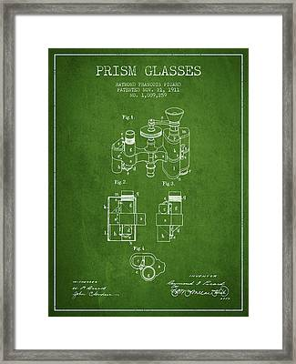 Prism Glasses Patent From 1911 - Green Framed Print by Aged Pixel