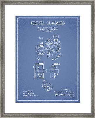 Prism Glasses Patent From 1911 - Light Blue Framed Print by Aged Pixel
