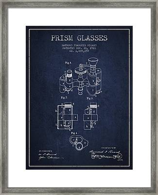Prism Glasses Patent From 1911 - Navy Blue Framed Print by Aged Pixel