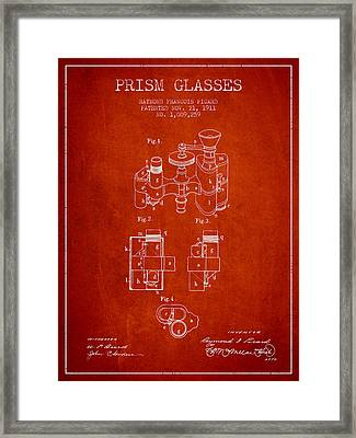 Prism Glasses Patent From 1911 - Red Framed Print by Aged Pixel