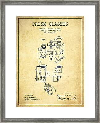 Prism Glasses Patent From 1911 - Vintage Framed Print by Aged Pixel