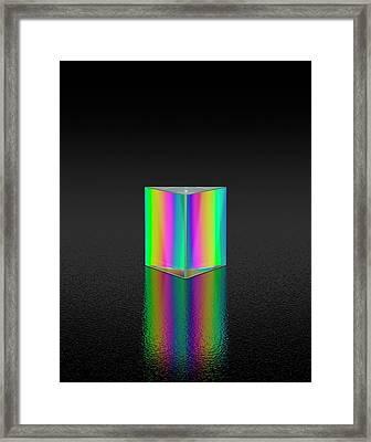 Prism Refracting White Light Framed Print by David Parker