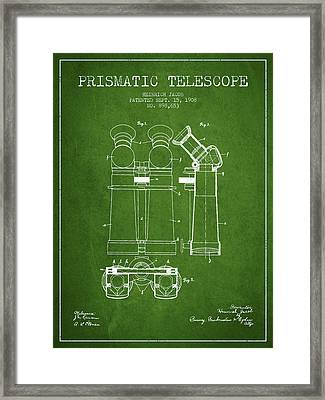 Prismatic Telescope Patent From 1908 - Green Framed Print