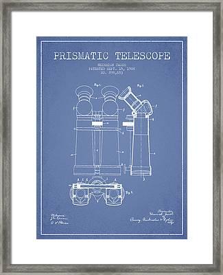 Prismatic Telescope Patent From 1908 - Light Blue Framed Print