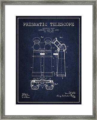 Prismatic Telescope Patent From 1908 - Navy Blue Framed Print