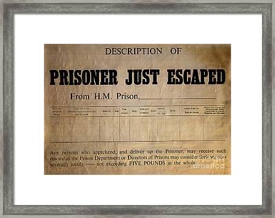 Prisoner Escaped Framed Print by Adrian Evans