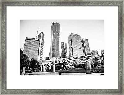Pritzker Pavilion Chicago Skyline Black And White Photo Framed Print