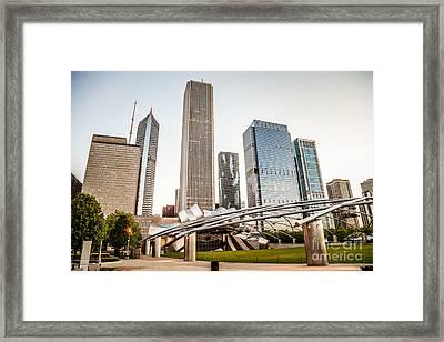 Pritzker Pavilion Chicago Skyline Photo Framed Print