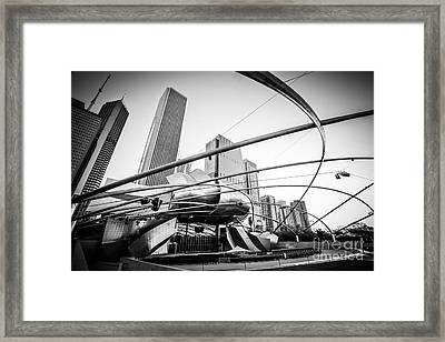 Pritzker Pavilion In Black And White Framed Print by Paul Velgos