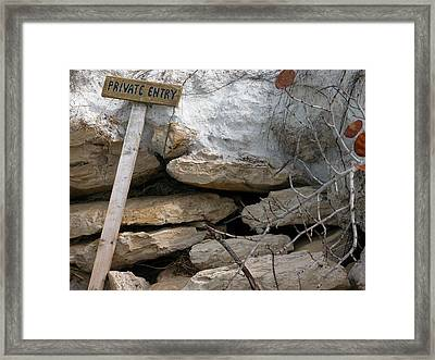 Private Entry Framed Print by Valerie Paterson