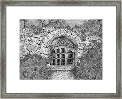 Private Garden At Sunset Black And White Framed Print by Ashley Goforth